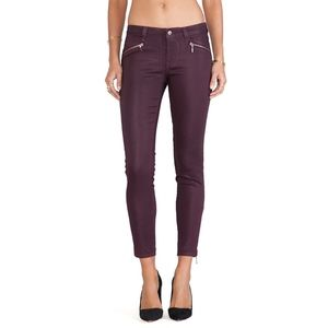 Riley Skinny Moto with Zippers in Mahogany Size 26